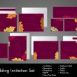 Royalty-Free Stock Vectorafbeeldingen: A complete wedding Invitation kit with beautiful and elegant abstract floral design with colorful  tree leaves pattern on dark pink background. EPS 10.