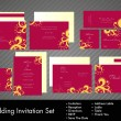 A complete wedding Invitation kit with beautiful and elegant abstract floral design in bright and dark pink colors. EPS 10. — Stok Vektör