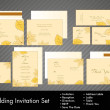 Royalty-Free Stock Imagem Vetorial: A complete wedding Invitation kit with beautiful and elegant abstract floral design with colorful  tree leaves pattern on bright yellow background. EPS 10.