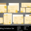 Royalty-Free Stock Vectorielle: A complete wedding Invitation kit with beautiful and elegant abstract floral design with colorful  tree leaves pattern on bright yellow background. EPS 10.