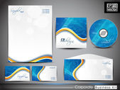 Professional Corporate Identity business kit with abstract wave pattern . — Stock Vector