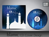 Islamic CD cover design with Mosque or Masjid silhouette in blue color and floral patterns. EPS 10. Vector illustration. — Stock Vector