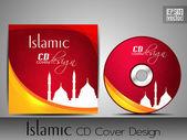 Islamische cd-cover-design mit moschee oder masjid silhouette in roten und gelben farbe und floralen mustern. eps 10. vektor-illustration. — Stockvektor