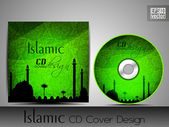 Islamic CD cover design with Mosque or Masjid silhouette in green color and floral patterns. EPS 10. Vector illustration. — Stock Vector