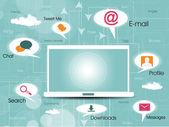 Sosyal medya ağ bağlantısı ve global iletişim, bilgisayar ve dizüstü bilgisayar ağları ile ağ kutsal kişilerin resmi. vektör çizim. eps 10. — Stok Vektör