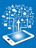 Mezzi di comunicazione sociale rete di connessione e comunicazione nelle reti globali, mobile con icone di rete. illustrazione vettoriale. eps — Vettoriale Stock