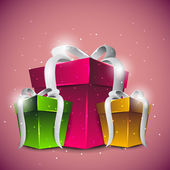 Shiny gift boxes in pink, green and yellow color with glossy silver ribbon on beautiful pink background. EPS 10. — Stock Vector