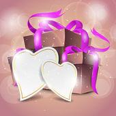 Glänzende geschenk-boxen mit glänzenden rosa bändern und leere herzen formen für ihre nachricht auf schönen rosa hintergrund. eps 10. — Stockvektor