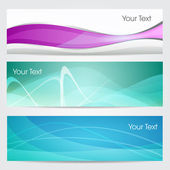 Vector illustration of banners or website headers with green, pink and blue color wave. EPS 10 format — Stock Vector