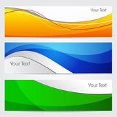 Vektor illustration av banners eller webbplats-huvuden med grön, orenge och blå färg våg. 10 eps-format — Stockvektor