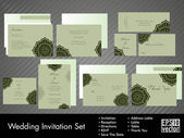 A complete wedding Invitation kit with beautiful and elegant abstract floral design in bright and dark green colors. EPS 10. — Stockvektor