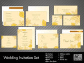 A complete wedding Invitation kit with beautiful and elegant abstract floral design with colorful tree leaves pattern on bright yellow background. EPS 10. — Stockvektor