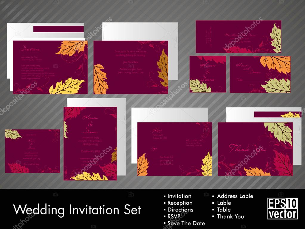 A complete wedding Invitation kit with beautiful and elegant abstract floral design with colorful  tree leaves pattern on dark pink background. EPS 10. — Stock Vector #10848303