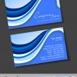 Professional business cards, template or visiting card set. Blue Artistic wave effect, abstract corporate look, EPS 10 Vector illustration. — Stok Vektör