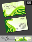 Professional business cards, template or visiting card set. green Artistic wave effect, abstract corporate look, EPS 10 Vector illustration. — Stock Vector