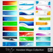 Vektor illustration av banners eller webbplats-huvuden med abstrakt, — Stockvektor