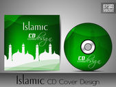 Islamic CD cover design with Mosque or Masjid silhouette in gree — Stock Vector