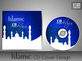 Islamic CD cover design with Mosque or Masjid silhouette in yell — Stock Vector