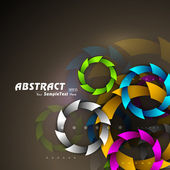 Vector colorful abstract background with colorful circles on brown background. EPS 10. — Stock Vector