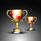 Trofeo de oro o copa de oro con cintas rojas, aislado sobre fondo gris. Eps 10. — Vector de stock