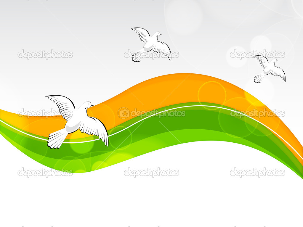 Creative Watercolor Indian Flag Background For Indian: Creative Indian Flag Color Background With Wave, Shine And