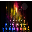 Abstract colorful background with waves of music. vector. — Vector de stock