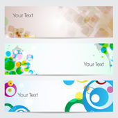Abstract headers design, vector illustration with colorful circles and square. with Eps 10 format — Stock Vector
