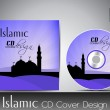 Islamic CD cover design with Mosque or Masjid silhouette with bl — Stok Vektör
