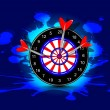 Three darts hitting target, Arrow and bow game concept on grungy dark blue background.EPS 10. — Stock Vector