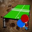 Two table tennis or ping pong rackets and balls on a blue table - Vettoriali Stock 
