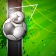 Illustration of soccer football in goal post on soccer stadium background. EPS 10. — Stockvectorbeeld