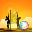 Vector illustration of two girls playing volleyball in sand,EPS 10. — Stock Vector