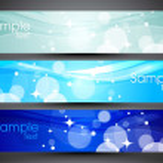 website header of banner instellen met kleurrijke achtergrond — Stockvector