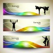 Abstract Sports Banner or website headers with colorful wave concept. EPS 10. — Stock Vector