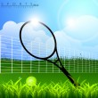 Stock Vector: Tennis racket and ball with net on nature background. EPS 10.