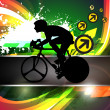 Vector design of bmx cyclist on colorful wave and grunge background. EPS 10. - Stock Vector