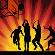 Vector illustration silhouettes of basketball players on shining wave abstract background. EPS10 — Stock Vector