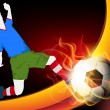 Vector de stock : Illustration of soccer football player in action, soccer ball with flame on shiny wave background. EPS 10