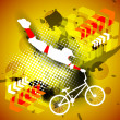 BMX cyclist practicing on shiny creative grungy abstract background. EPS10. — Stock Vector