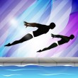 Two young man swimmer synchronizing in swimming pool on beautiful colorful water background. EPS 10. — Stock Vector #11212424