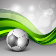 Illustration of a shiny soccer football on creative abstract green wave background. EPS 10. — Stock Vector