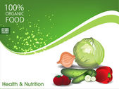 Health and Nutrition background with organic food and green wave concept. EPS 10 — Stock Vector
