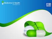 Natural medical pills or capsule with green leaves on wave background. EPS 10. — Stock Vector