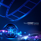 Illustration of a film stripe or film reel on shiny blue movie background. EPS 10 — Vector de stock