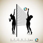 Silhouette of volley ball girls player playing volleyball on background.EPS 10. — Stock Vector