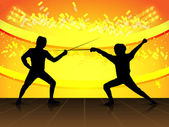 Silhouette of fencing athletes on colorful grungy background. EPS 10. — Vector de stock