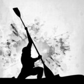 Silhouette of a man doing kayaking on abstract grungy grey background. EPS 10. — Stockvector