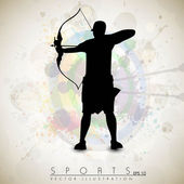 Silhouette of a archer aiming target on grungy archer sport background. EPS 10. — Stock Vector