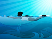 Girl swimmer swimming in swimming pool on beautiful natural water background. EPS 10. — Cтоковый вектор