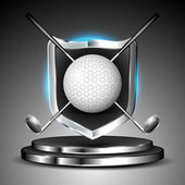 Metallic glossy winning shield of golf ball with sticks on glossy stage. EPS 10. — Stock Vector